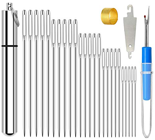 Embroidery Needles, 25Pcs 5 Sizes Premium Large Eye Stitching Sewing Needles for Hand Sewing Includes 1 Aluminum Storage Tube 1 Thread Removal Knife1 Thimble 1Threading Device