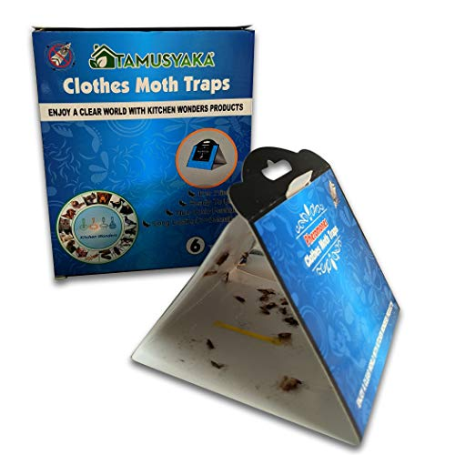 Tamusyaka Clothes Moth Traps (6 Count) Moth Repellent with Pheromones Lure, Powerful Moth Traps for House, Moth Killer for Carpet, Wool Clothes Moth Traps Closet Clothing Non Toxic, Kid and Pet Safe.