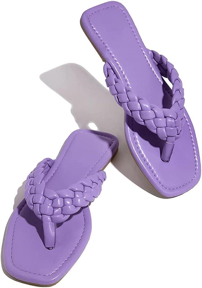 Trish Lucia Womens Flat Sandals Braided Strap Flip-Flops Sandal Square Toe Beach Woven Leather Slides