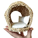 Miniature Dollhouse Furniture 1:12 scale. Fairy Wicker Hutch Handmade Bed BJD Doll