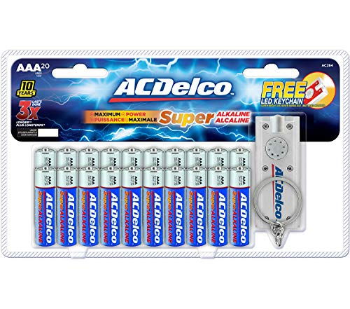 ACDelco 20-Count AAA Batteries, Maximum Power Super Alkaline Battery, 10-Year Shelf Life
