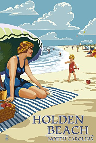 Holden Beach, North Carolina - Woman on Beach 45023 (12x18 SIGNED Print Master Art Print - Wall Decor Poster)