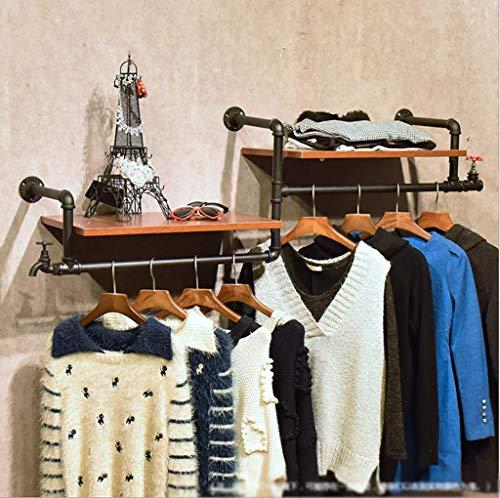 MultifuncióN Estante Almacenamiento Baldas Standsl Estantería vintage de hierro forjado Estante de exhibición de pared de hierro forjado montado en la tienda Tienda de ropa Bolsa de zapatos Estante de
