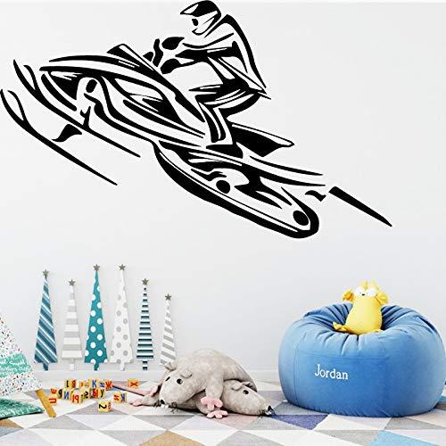 hahastore Kleiner Junge Schlafzimmer Dekoration kreative Motorrad Rennen Design Wandaufkleber Vinyl Selbstklebende Kunst Aufkleber wasserdicht Poster XXXL 96cm x 58cm
