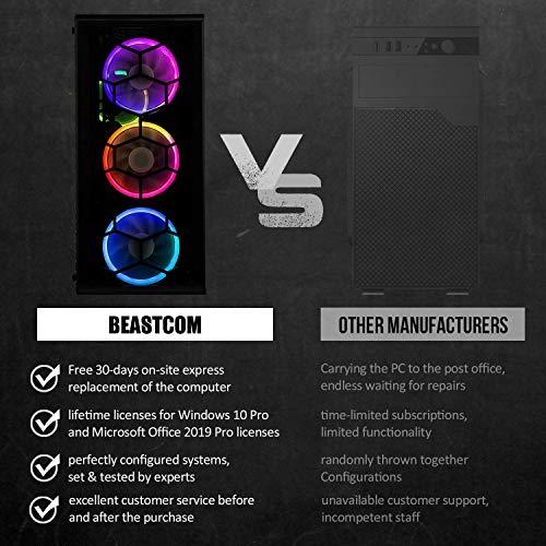 BEASTCOM Q3 | Essential Gaming PC | Ultra Gamer | Intel i5-10400F 6X 4.30Ghz 12-Threads | 8K GeForce GTX 1650 4GB | 16GB RAM | 512GB SSD + 2TB | HDMI | USB 3.1 | WLAN | Windows 10 Pro | Office 2019