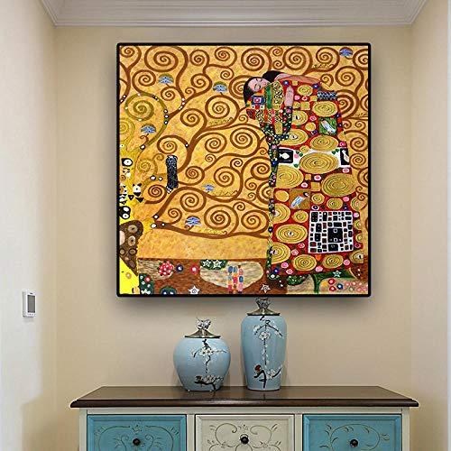 JinYiGlobal Gustav Klimt die Erfüllung Reproduktion Ölgemälde auf Leinwand Poster und Drucke Skandinavisches Wandbild für Wohnzimmer-60x60cm ohne Rahmen