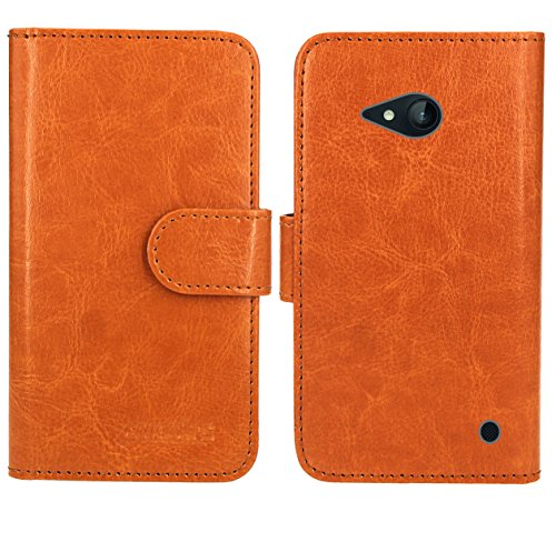 FoneExpert® Nokia Lumia 735 730 Handy Tasche, Wallet Hülle Flip Cover Hüllen Etui Ledertasche Lederhülle Premium Schutzhülle für Nokia Lumia 735 730 (Wallet Orange)