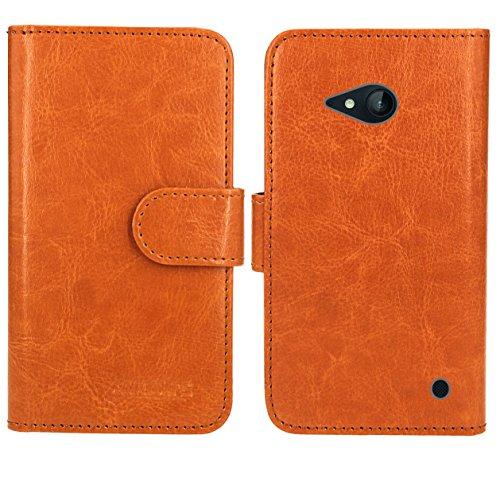 Nokia Lumia 735 730 Handy Tasche, FoneExpert® Wallet Case Flip Cover Hüllen Etui Ledertasche Lederhülle Premium Schutzhülle für Nokia Lumia 735 730 (Wallet Orange)