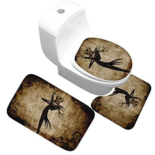 JIUJIUYITECH Ensemble de Bain 3 pièces Couverture de Toilette Tapis de Pied en Forme de U Tapis Absorbant antidérapant Série Halloween (Color : 15)