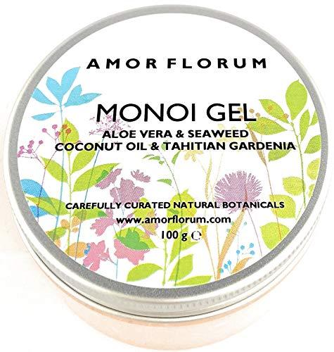 ALOE & ALGEN - MONOI GEL mit KOKOSNUSSÖL & TAHITIAN GARDENIA - 100g - von AMOR FLORUM - BEDINGUNGEN, FEUCHTIGKEITEN und NÄHREN Haut und Haare. Kein zusätzliches Parfüm.