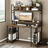 Sedeta Computer Desk with Hutch and Adjustable Shelves, 55 Inches Industrial Office Desk with Bookshelf, CPU Stand, Writing Desk with Storage, PC Study Table Workstation for Home Office, Rustic Brown