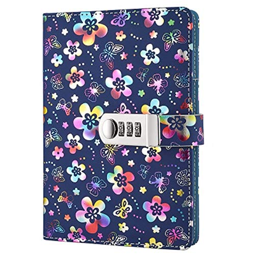 PU Leather Diary with Lock, A5 Size Diary with Combination Lock Digital Password Journal Locking Journal Diary (Multicolor)