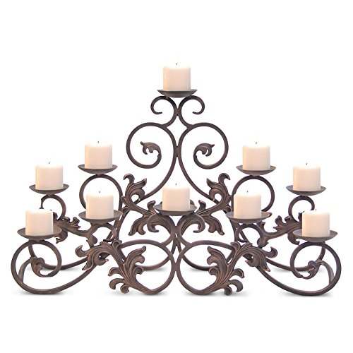 Pilgrim Home and Hearth 17504 Venice Fireplace Candelabra Candle Holder, Distressed Bronze