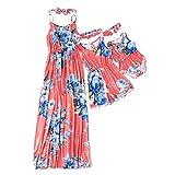 IFFEI Mommy and Me Matching Dress Spaghetti Strap Summer Casual Sundress Beach Sleeveless Dress with Headband Red 2 Years