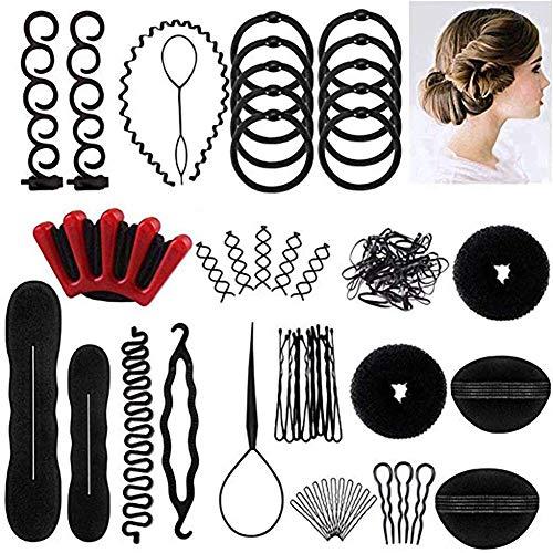 Juego de 40 herramientas para hacer moños de pelo, accesorios para trenzas de pelo, estilo mágico intercambiable, para mujeres y niños