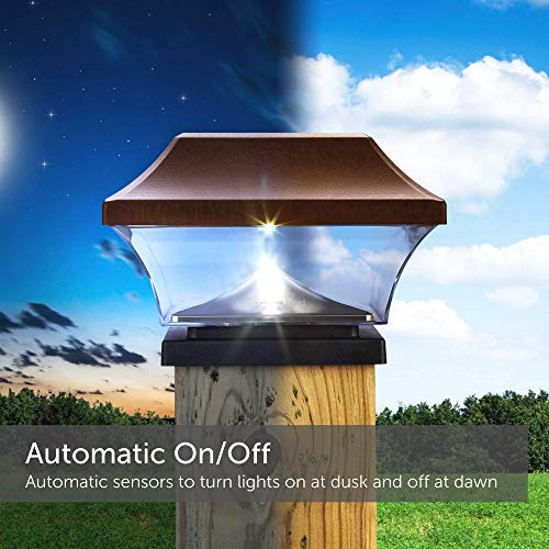 NOMA Solar Post Lights   Waterproof Outdoor Cap Lights for 4 x 4 Wooden Post, Deck, Patio, Garden, Decor or Fence   Warm White LED Lights, 8-Pack (Bronze)
