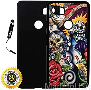 Custom Google Pixel 2XL Case (Sugar Skull Day of the Dead) Plastic Black Cover Ultra Slim | Lightweight | Includes Stylus Pen by Innosub