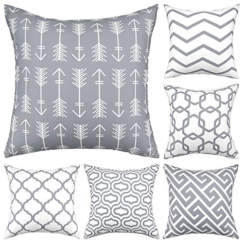 Gusgopo Throw Pillow Covers 18 x 18 Set of 6, Modern Decorative Pillow Covers, Geometry Outdoor Square Pillow Cushion Cases for Couch Sofa Bedroom Car, Grey
