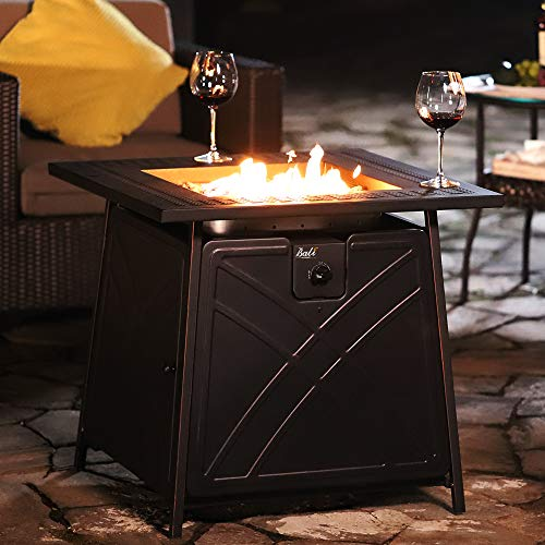 BALI OUTDOORS Gas Fire Pit Table, 28 inch 50,000 BTU Square Outdoor Propane Fire Pit Table with Lid and Blue Fire Glass