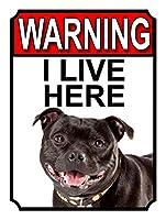 ここに住んでいるという警告 金属板ブリキ看板警告サイン注意サイン表示パネル情報サイン金属安全サイン