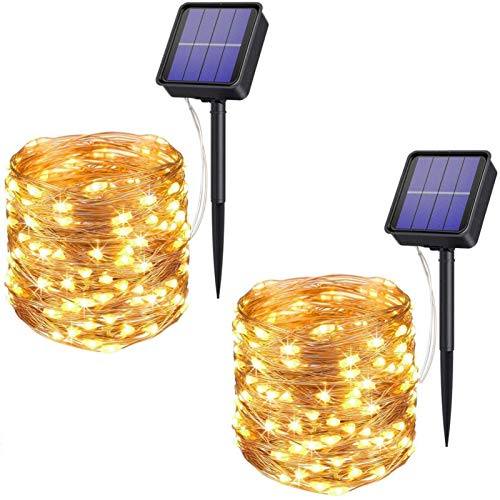 Outdoor Solar String Lights, 100 LED 33FT Solar Powered Fairy Lights 8 Modes Waterproof Copper Wire Decorative Lights for Garden, Party, Patio, Yard, Christmas (Warm White, 2 Pack)