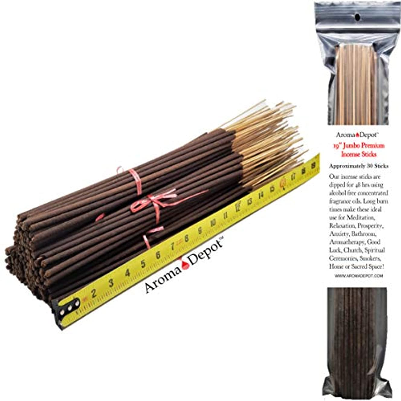 Aroma Depot 19'' Butt Naked Most Exotic Incense Sticks. Approx 27 to 30 Sticks Per Bundle, Length - 19 Inch, Each Natural Stick Burns for 3 to 4 Hours Each. Long Lasting. Guarantee 100% Pure