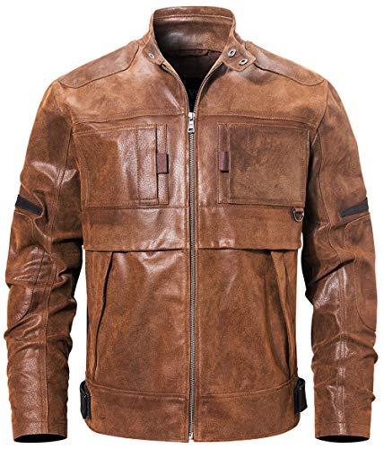 FLAVOR Men Motorcycle Leather Jacket Biker Jacket (Large, Brown-3)