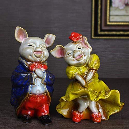 DJY-JY Estatuas pintadas para pareja de cerdos, decoración de boda, decoración del hogar, adornos decorativos de cerámica estilo rústico americano, 2 piezas de manualidades para el hogar