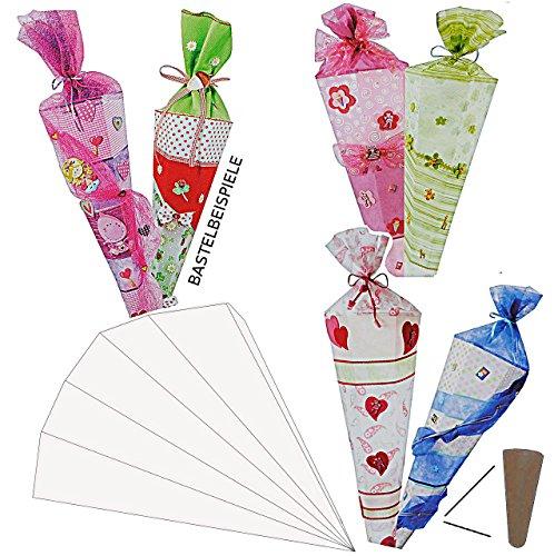alles-meine.de GmbH Bastelset Schultüte 85 cm - Creapop Folie selbstklebend Zuckertüte zum Basteln Rohling mit Holzspitze