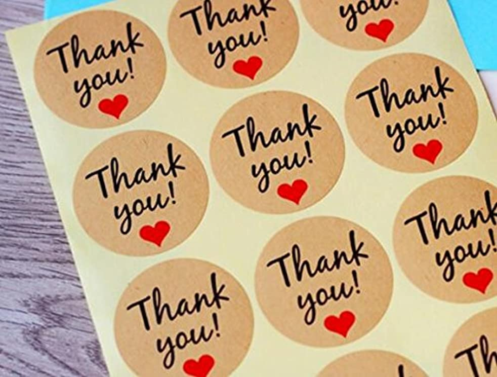 Thank You Label Envelopes Stickers Hand Made Retro Thank You Kraft Paper Stickers Card DIY Decorative Adhesive Label Decal For Wedding Party Gift Packaging Bake Decoration 120PCS,Q450