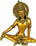 Exotic India Haloed Indra Statue Green Gold
