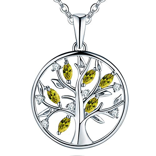 JO WISDOM Tree of Life Necklace,925 Sterling Silver Family Tree August Birthstone Peridot Coin Pendant Necklace