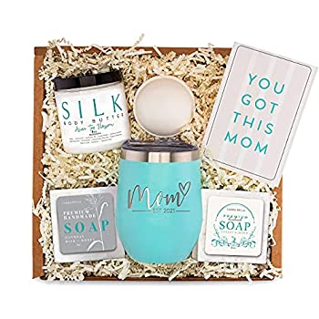 New Mom Gifts Ideas - Mom Est 2021 Spa Bath Box Set w/ Tumbler - Best Present Idea for First Time Mommy w/ New Baby - Cute Expecting Mother to be Baby Shower Basket - Presents for Her Pregnancy Care