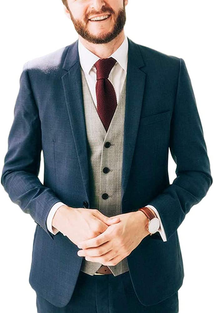 Newdeve Men's Wedding Suits Regular Fit Big and Tall Casual Blue 3 Pieces Blue and Grey Bridegroom Suits