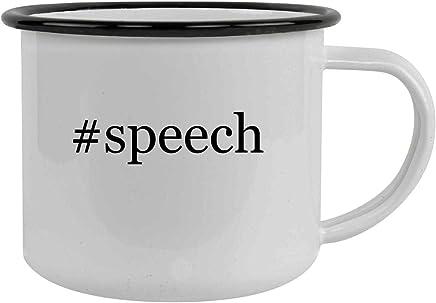 #speech - 12oz Hashtag Stainless Steel Camping Mug, Black