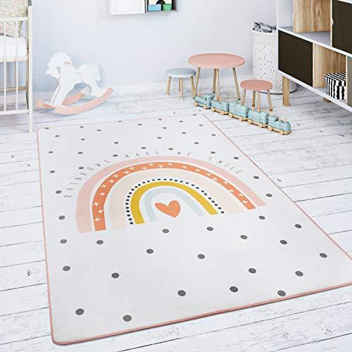 Paco Home Kinderteppich Teppich Kinderzimmer Spielmatte Babymatte Regenbogen Herz Creme Rosa, Grösse:80 cm Rund