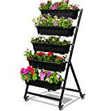 CERBIOR Vertical Garden Herb Raised Bed 4.5FT Freestanding Elevated Planters with 5 Container Boxes, Good for Patio Balcony Indoor Outdoor (Black)