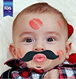 Funny Baby Pacifier Cute Kissable Mustache Pacifier for Babies and Toddlers Unisex - BPA Free Latex Free Made with Silicone - Romeo Black - by BabyStache