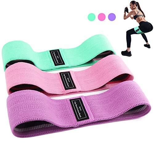 Bandas Elasticas Gluteos, Juego de 3 Bandas Elásticas Musculacion para fitness con 3 niveles, Resistencia Antideslizante para Piernas y Glúteos, pilates,yoga,Fuerza,Fisioterapia,Estiramientos