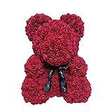 Henreal 40 cm Ours Rose Décoration Fleur Amour Cœur Mousse Rose Pour Mariage Lie de vin