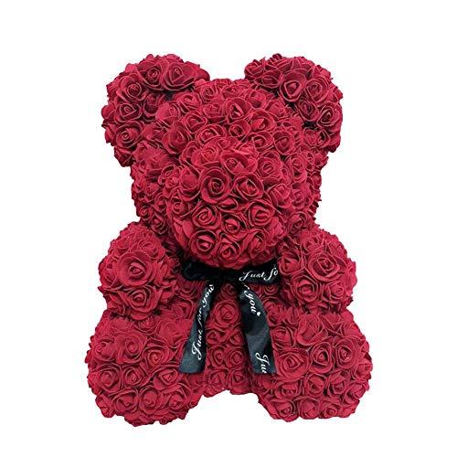 Soulitem Ours en Peluche Rose,40 cm de Mousse Rose de Coeur d'amour de Fleur de Simulation d'ours de Rose pour la Noce, Fête des mères
