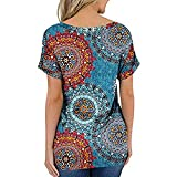 Camiseta de manga corta para mujer, estampado de dibujos animados, cuello redondo, gráfico, casual, camiseta de verano, camiseta suelta con flores, impresión 3D, túnica, blusa para niña azul XXL