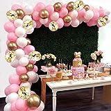 AivaToba Kit de Guirnalda de Globos Arch, 6 pies de Largo 115 Piezas Globos de Oro Blanco Rosa Paquete de Arco para niña Cumpleaños Baby Shower Despedida de Soltera Decoraciones de la Boda