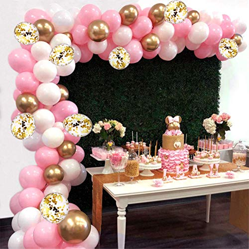 Balloon Arch Kit Garland, AivaToba 16Ft Long 115pcs Pink White Gold Balloons Pack Arch for Girl Birthday Baby Shower Bachelorette Party Wedding Decorations