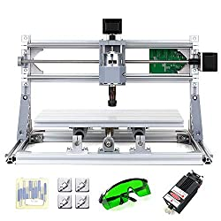 KKmoon DIY CNC Router Set, 2-in-1, Mini La-ser Engraving, GRBL Control, 3 Axes for PCB PVC Plastic Acrylic Sculpture Wood Milling Machine Engraving Machine with ER11 Safety Goggles