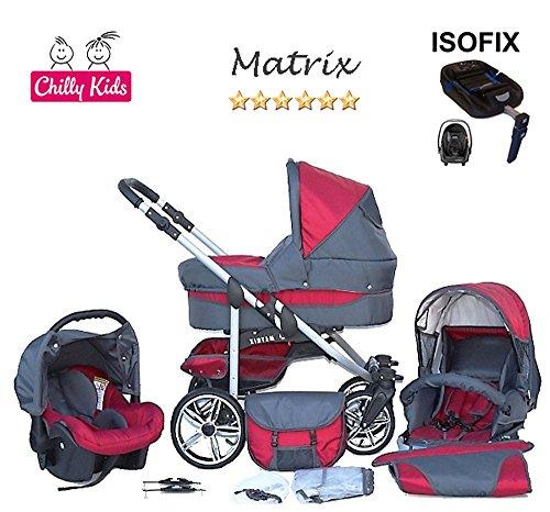 Chilly Kids Matrix 2 poussette combinée Set – hiver (chancelière, siège auto & ISOFIX, habillage pluie, moustiquaire, roues pivotantes) 04 rouge & graphite