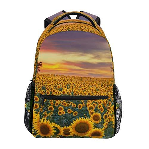 Mochila escolar escolar para viajes, diseño de girasol floreciente