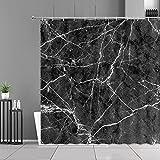 XCBN Cortina de Ducha con Estampado de Rayas Blancas de mármol Negro Simplicidad Paño de decoración de baño para el hogar Cortinas de baño Impermeables Pantalla A5 180x180cm