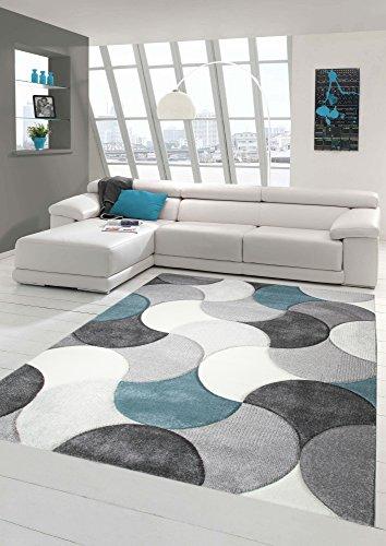 Tapis design et moderne à poil court avec motif de gouttes en beige gris bleu Größe 120x170 cm