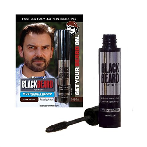 Blackbeard for Men, gel colorante per barba e baffi nero, con applicatore a pennello usa e getta, 12 ml